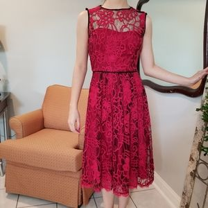 Adrianna Papell Red Lace Illusion dress